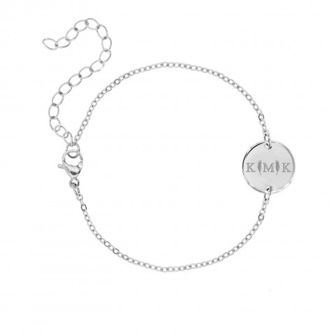 Letter armband 3 initialen Zilver