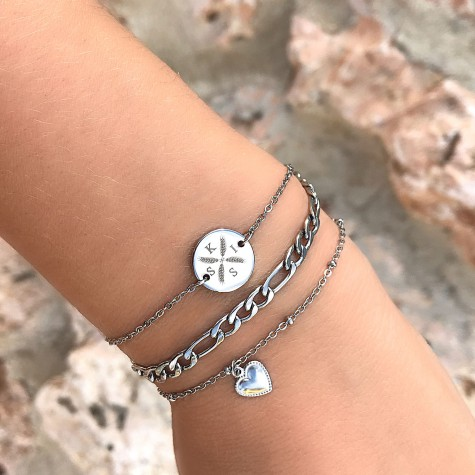 Armband vier letters Zilver