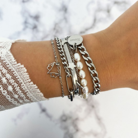 mix van trendy zilveren armbandne