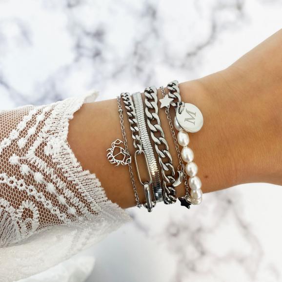 Mix van zilveren trendy armbanden