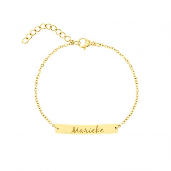 Graveerbare bar armband met sierletters goud