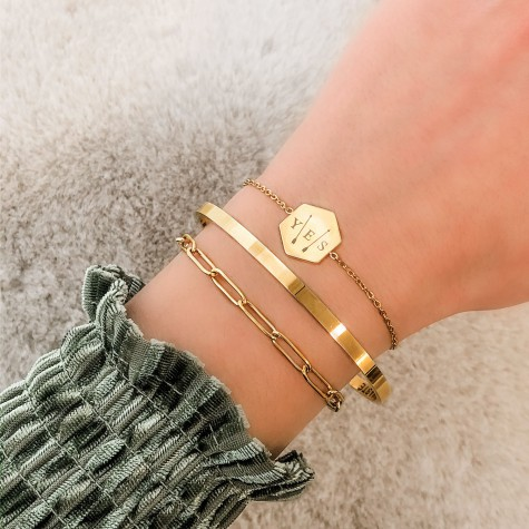 Initialen armband 3 letters goud kleurig