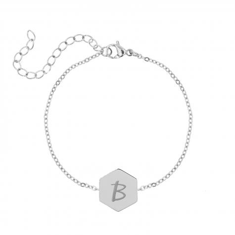 Initial armband met sierletter zilver