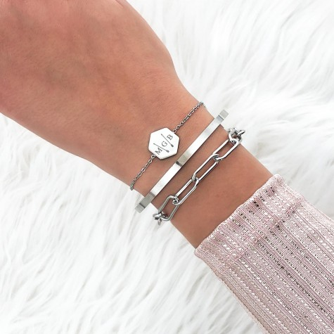 Initialen armband 3 letters zilver