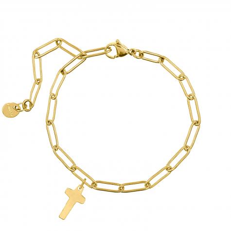 Schakelarmband met kruis goud