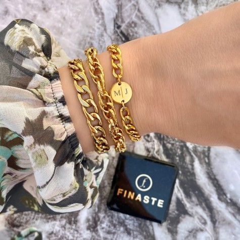 Big chain armband goud