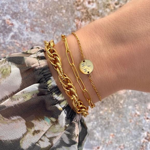 Gevlochten schakelarmband goud kleurig