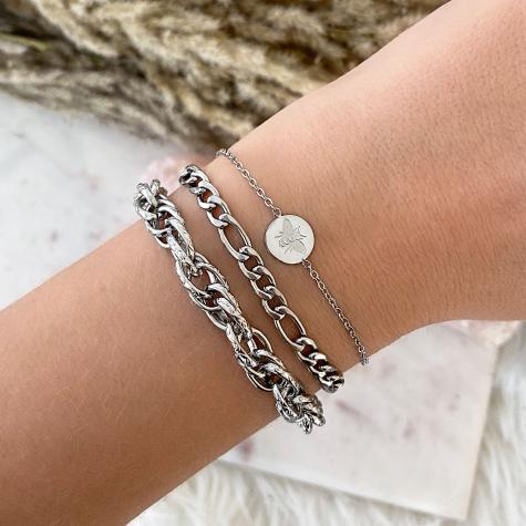 Zilveren gevlochten schakelarmband