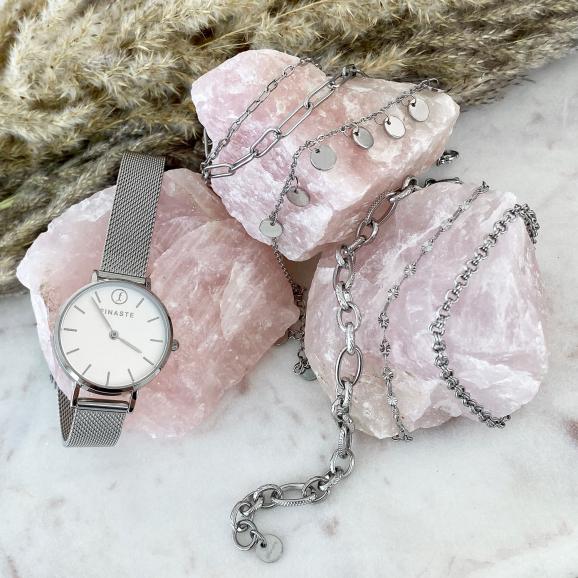 Zilveren horloge met gravering met schakelarmbandjes