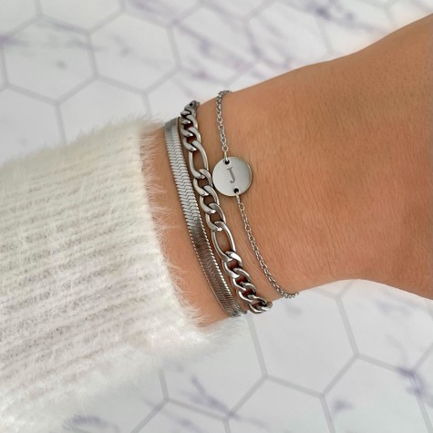 Initial Armband Mini Coin Zilver