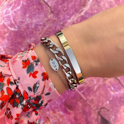 Big chain armband zilver
