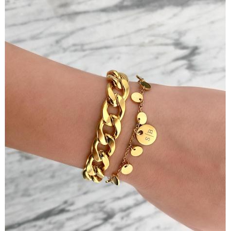 Gepersonaliseerde armband met muntjes goud