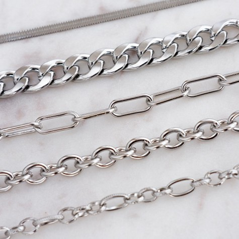 Basis schakel armbandje zilver