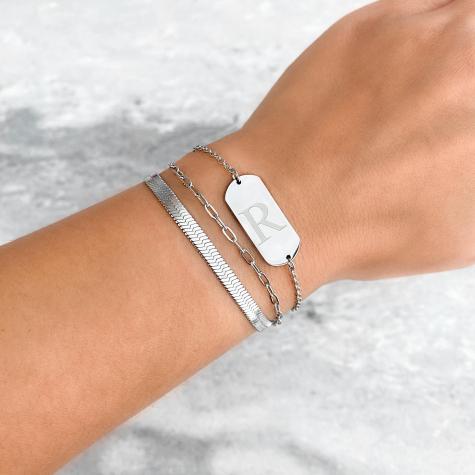 Graveerbare initial armband grote bar