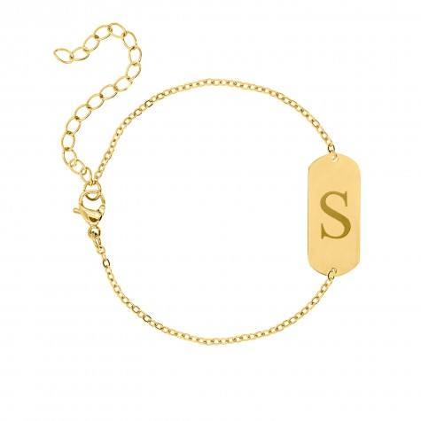 Graveerbare initial armband grote bar gold plated