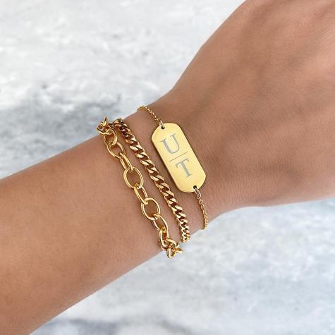 Schakel Armband Basic Goud
