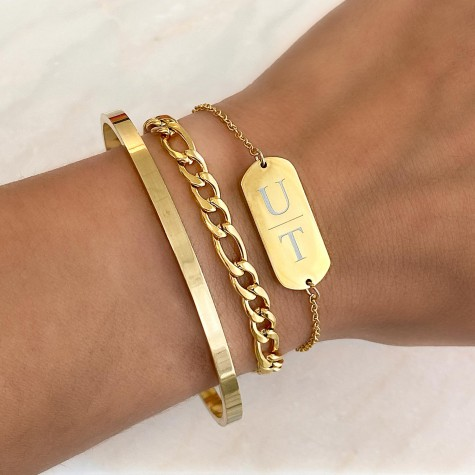 Graveerbare bar armband 2 letters gold plated