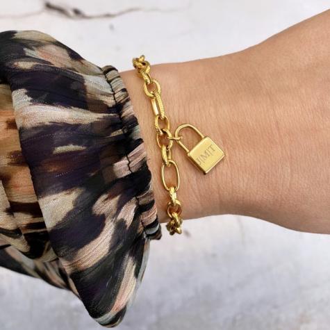Schakelarmband met slotje graveren kleur goud