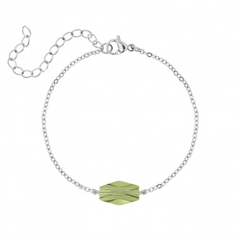 Armband met groene steen kleur zilver