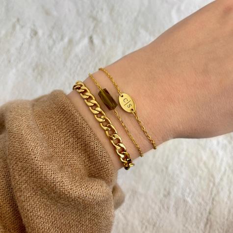 Armband met groene steen kleur goud