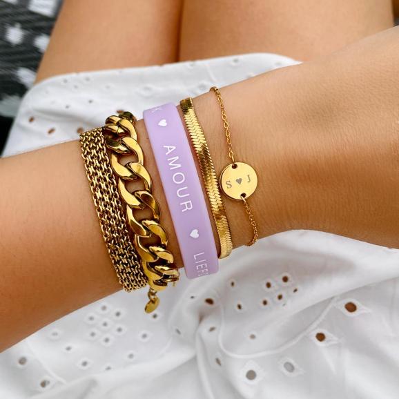 Shop de lila love armband bij Finaste