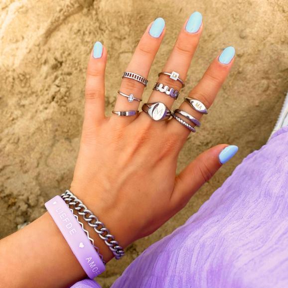 zilveren ringen mix om hand