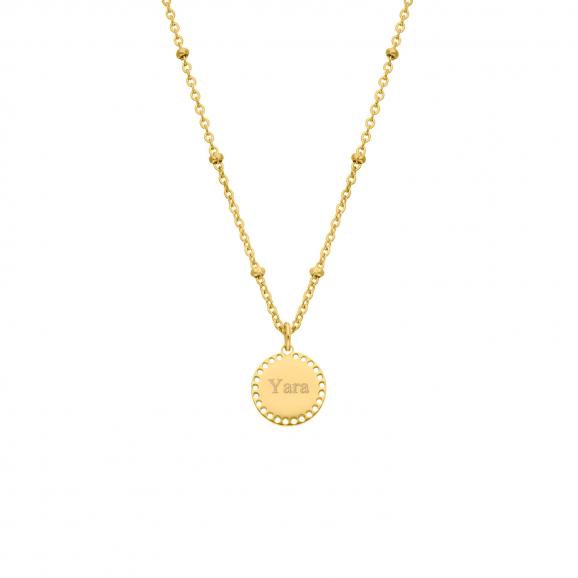 Coin ketting graveren goud kleurig