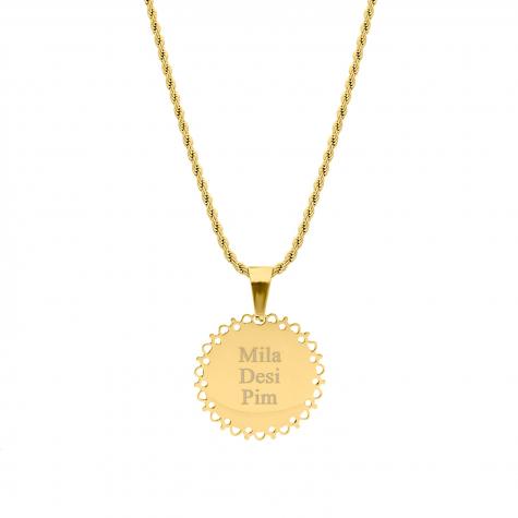 Naam ketting big coin goud kleurig