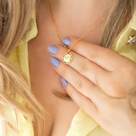 Coin ketting met naam kleur goud