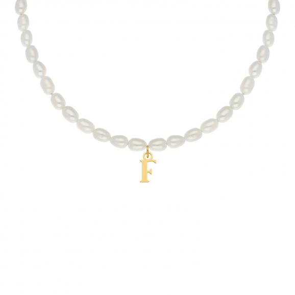 Pearl initial ketting goudkleurig