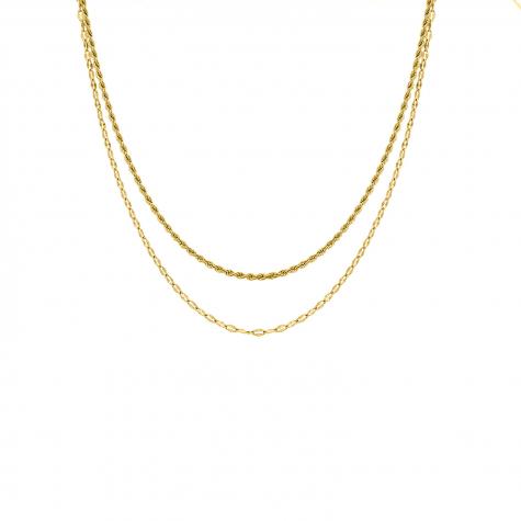 Minimalistische dubbele ketting goud kleurig