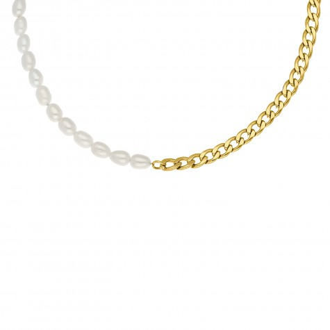 Ketting Chain & Pearl goud kleurig