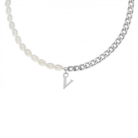 Initial ketting chain & pearl kleur zilver