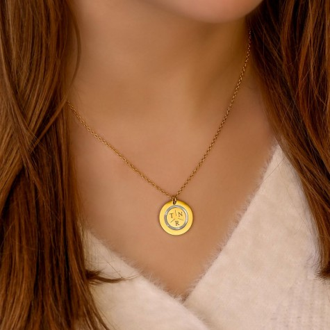Ketting 3 initials parelmoer kleur goud