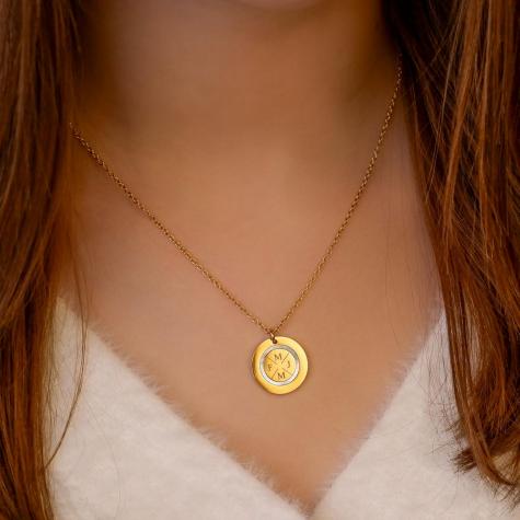 Ketting 4 initials parelmoer kleur goud