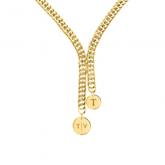 Chain ketting 2 coins graveren goud kleurig
