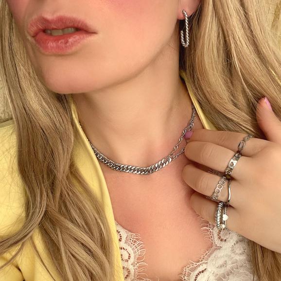 Mooie zilveren look met chain ketting mix
