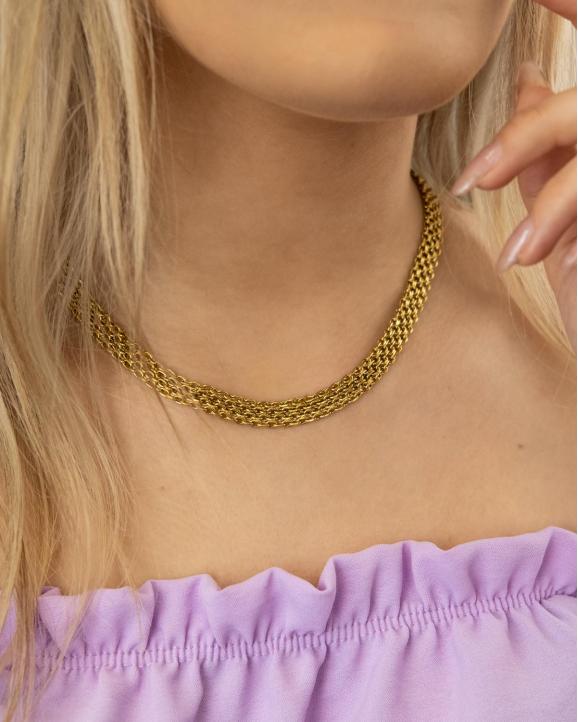 Mooie goudkleurige ketting om de hals van het model