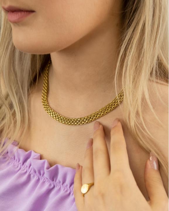 De platte ketting mesh goud kleurig maakt jouw dagelijkse look compleet
