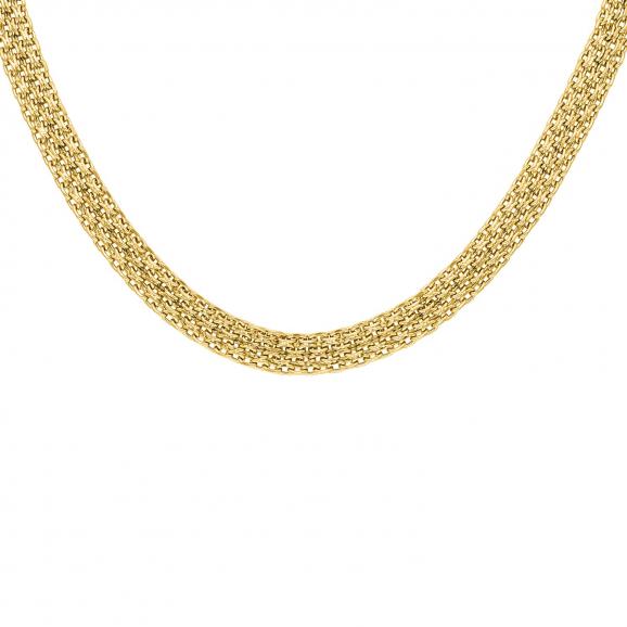 Platte ketting mesh goud kleurig