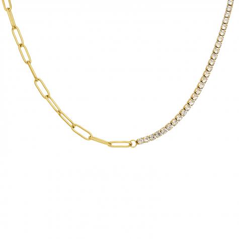 Tennis necklace met schakels goud kleurig