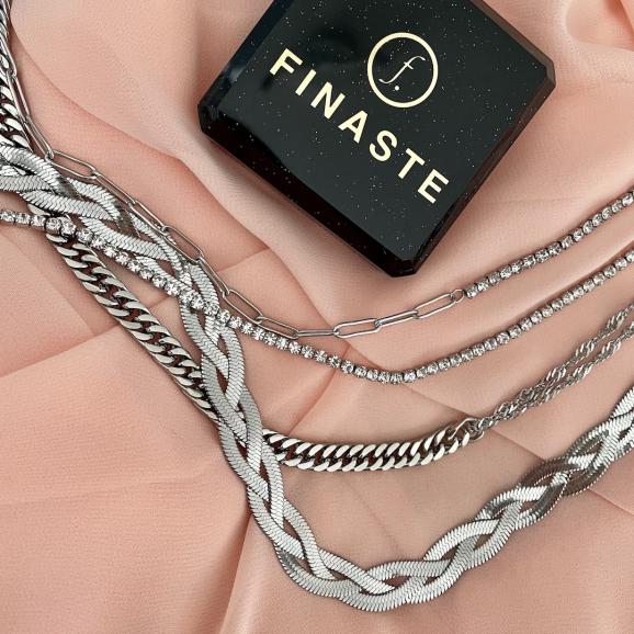 Trendy kettingen in het zilver ontvang je in een mooi Finaste sieradendoosje