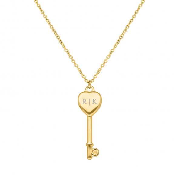 Ketting Love Key Graveerbaar Goud Kleurig