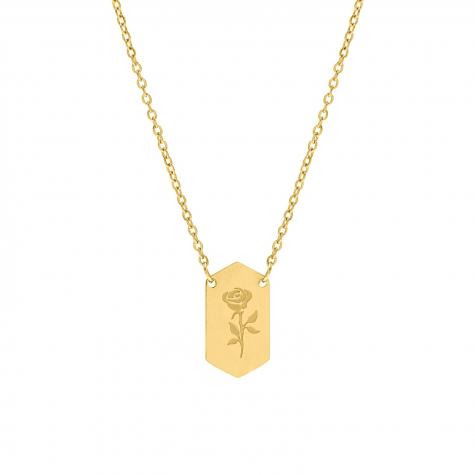 Hanger ketting roosje goud kleurig