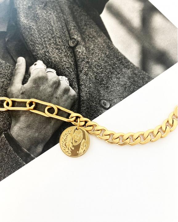 Coin ketting mixed chain goud kleurig