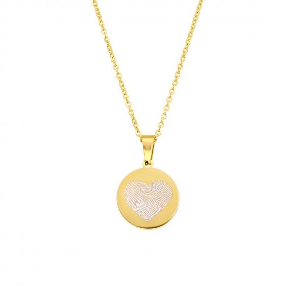 Coin ketting met vingerafdruk hartje goudkleurig