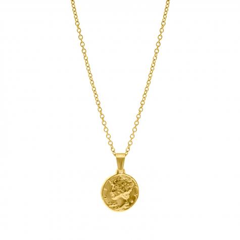 Gouden ketting met muntje als hanger
