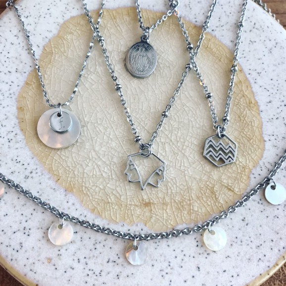 Zilveren fashionable sieraden combinatie