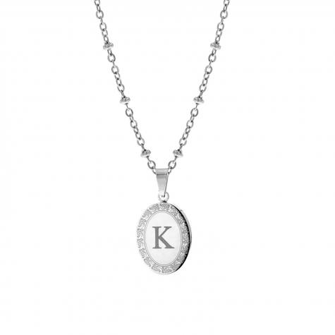 Zilveren initial ketting met bedel