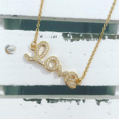 Ketting love quote goud kleurig